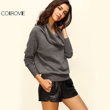 COLROVIE Convertible Cowl Neck Pullover Off Shoulder Sweater