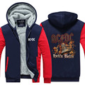 Novelty Design  AC DC Bell Skull Mens Hoodies  I Got My Bell Gonna Take Ya To Hell Thicken Zipper Tops USA EU size Plus size