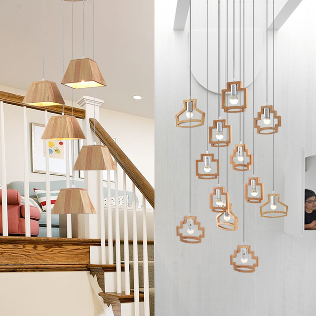 US $514 28 14% OFF|Nordic Solid Wood Stair Lamp Long Pendant Lights Duplex  Building Villa Rotating Stair Japanese Chinese Log Stair Hanging Lamp-in