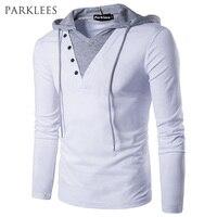 Hooded Mens T Shirt 2017 Spring New Long Sleeve Streetwear T Shirt Men Casual Slim Fit