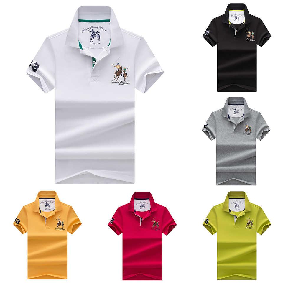 Набор из 2 поло и шорт, мужские летние хлопковые классические повседневные вышитые рубашки поло, топы и футболки, мужские деловые поло с коротким рукавом 4XL