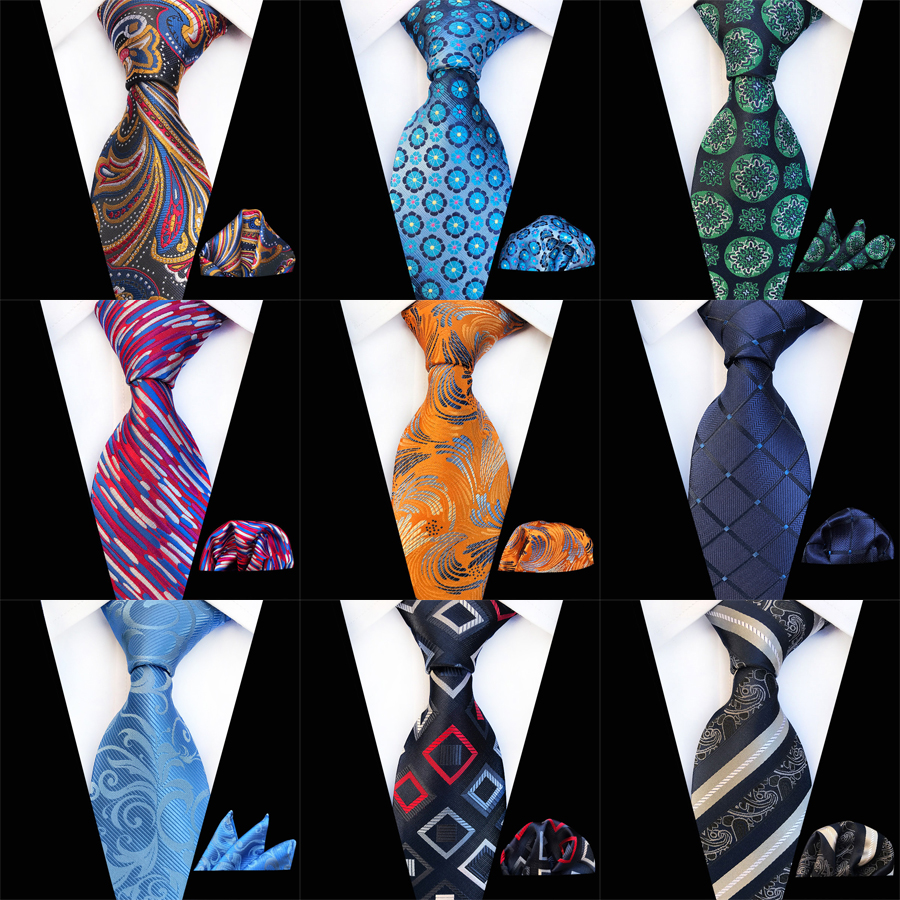 2019 New Various Men Tie Set Classic Polyester Silk Business Wedding Floral Striped Ties Handkerchief Sets Pocket Square Necktie