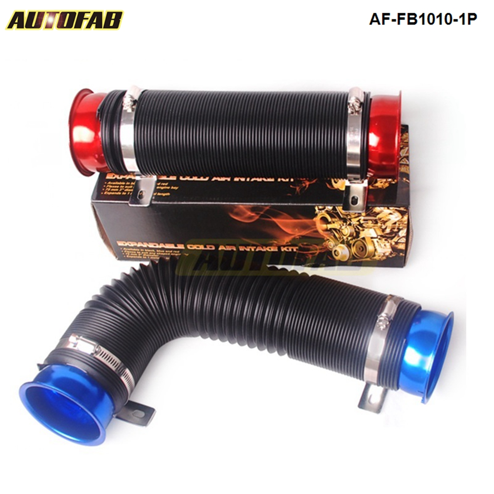 "Universal Car Red 3/"" Multi Flexible Cold Air Intake Pipe Inlet Hose Tube Duct"