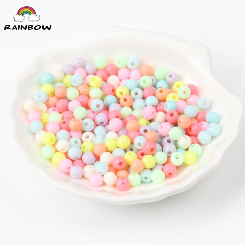 Смешанная конфеты Lucky Цвет акрил круглое семя свободные шарики подходят украшения ювелирных изделий DIY аксессуары 6 мм 200 шт.