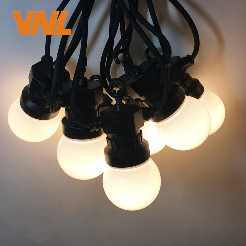 VNL IP65 13M 20X G50 LED Milky Globe Ball String Light,LED Warm Garland String For Wedding Garden Party Patio Outdoor Decor