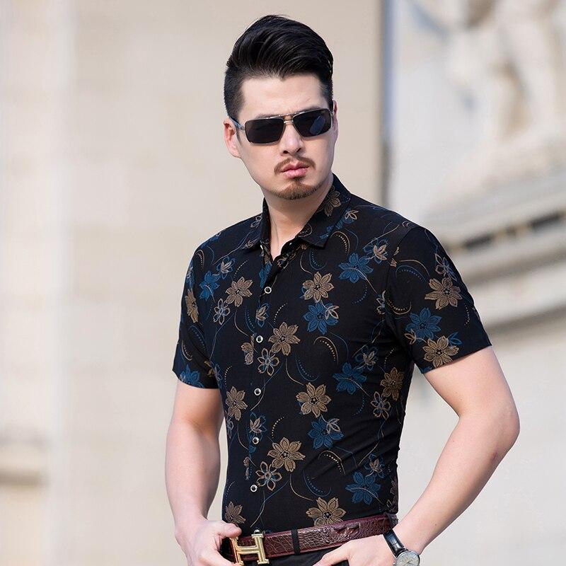 6e502b89 € 16.94 |Kuyomens verano hombres camisas floreadas camisa slim fit camisa  camisa de vestir de algodón de manga corta casual camisas para hombre en ...