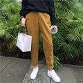 2017 Nova Harjuku Coréia Sólidos Calças de Comprimento No Tornozelo calças de Veludo Outono Inverno Solto Lápis de Cintura Elástica Calças Harém Feminino
