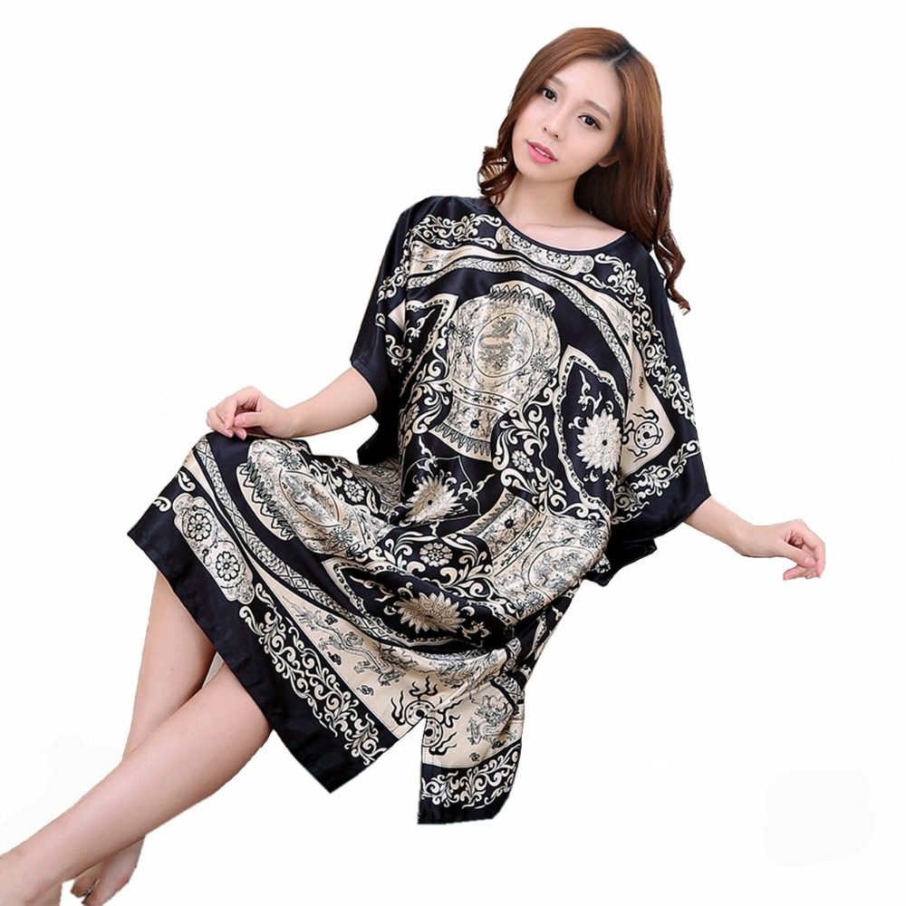 Plus Size Summer Women's Faux Silk Nigh Robe Black Lady Bath Gown Nightgown Bathrobe Sleepwear Mujer Pijama Flower Zh07C(China)