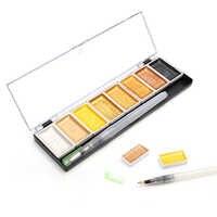 Juego de colores de agua sólida Premium de 5/8 colores pintura de pigmento de oro metálico con pincel de agua para pintura artística de acuarelas suministros