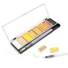 Conjunto de cores sólidas premium, tinta metálica para pintura com pigmento dourado, com escova de água, para pintura artística, arte em aquaras suprimentos