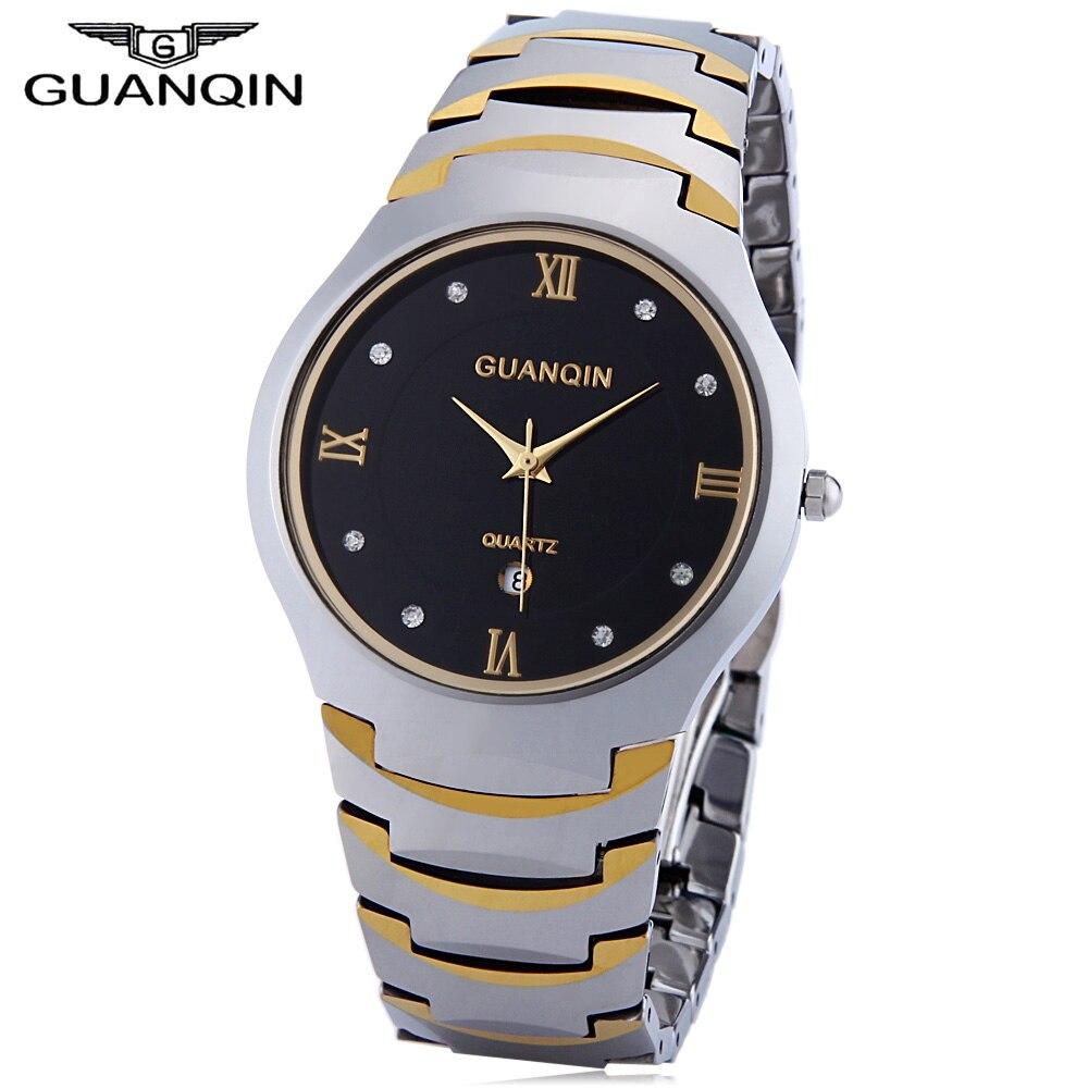 ФОТО GUANQIN Men Quartz Watch Calendar 10ATM Artificial Diamond Dial Tungsten Steel Band Wristwatch