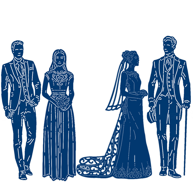 Wedding Bride Bridegroom  2019 New Metal Cutting Dies For DIY Scrapbooking Embossing Decorative Crafts Supplies Cards Making