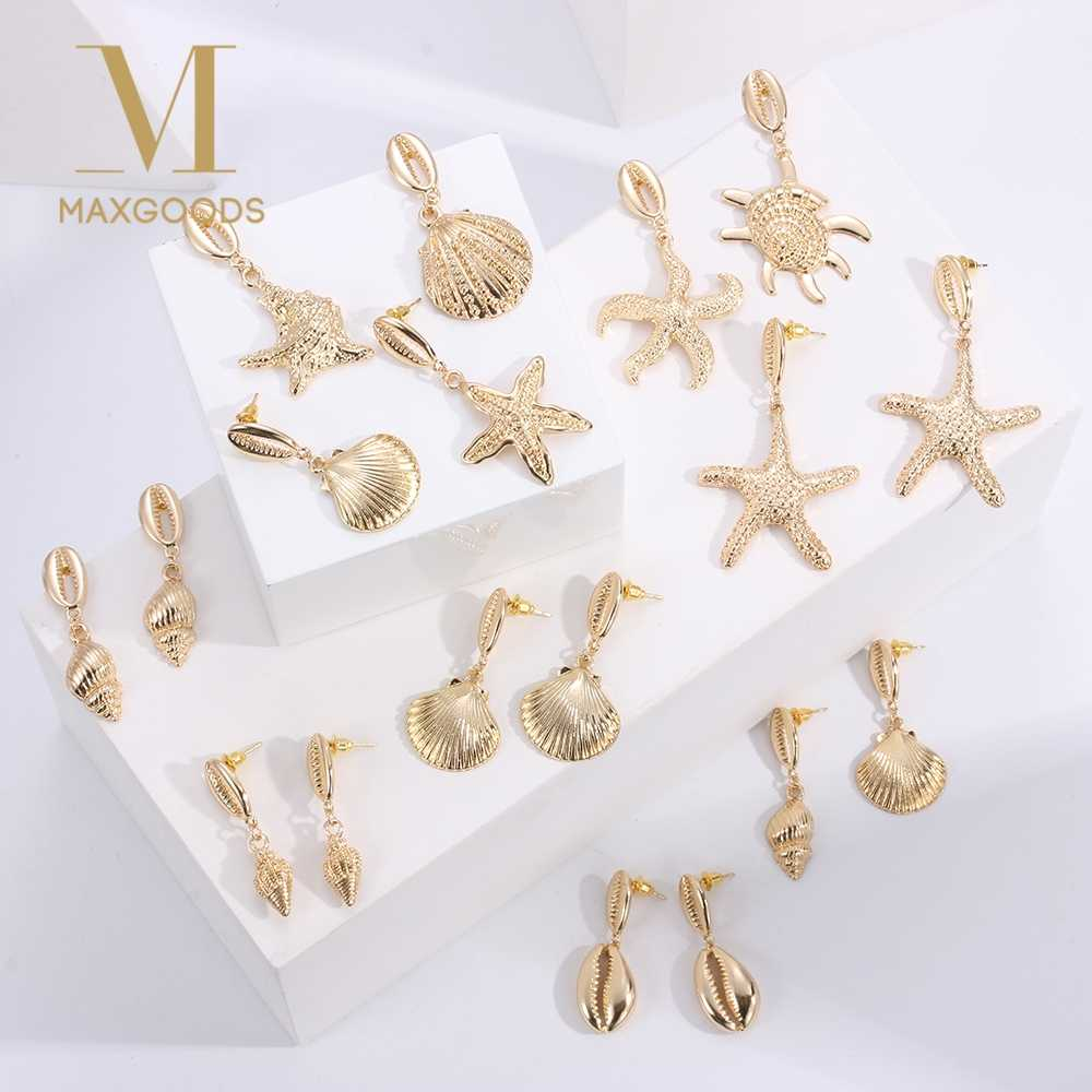 Exaggerated Cowrie Shell Earrings Women Gold Color Geometric Irregular Starfish Conch Statement Dangle Earrings Brincos Jewelry