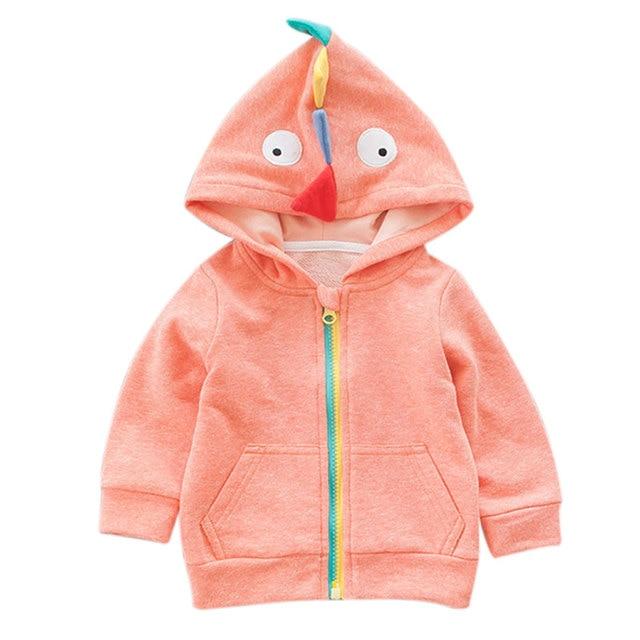 2016 New Autumn Cute Cartoon Dinosaur Hooded Baby Hoodies Sweatshirts For Boy Girl Long Sleeve Zipper Red Grey All-match Tops