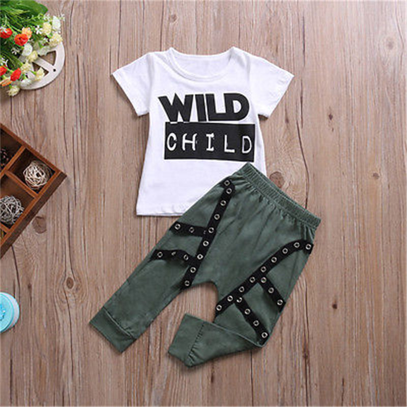 2b086d0c7d45 Fashion Toddler Kid Baby Boys Clothes Wild Child Summer T shirt ...