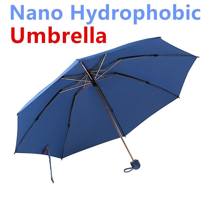 Rain Smile Super Nano Hydrophobic Three Fold Travel Rain Sun Umbrella Fast Self Drying Anti UV