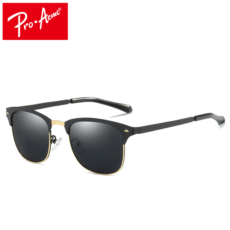 Pro Acme Brand Polarized Night Vision Sunglasses Men Classic Half Metal Square Sun Glasses Driving Travel Eyewear Gafas PA0975