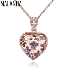 MALANDA Brand Hollow Out Heart Necklaces For Women Zircon Crystal From Swarovski Necklaces Pendants Party wedding Jewelry Gift(China)