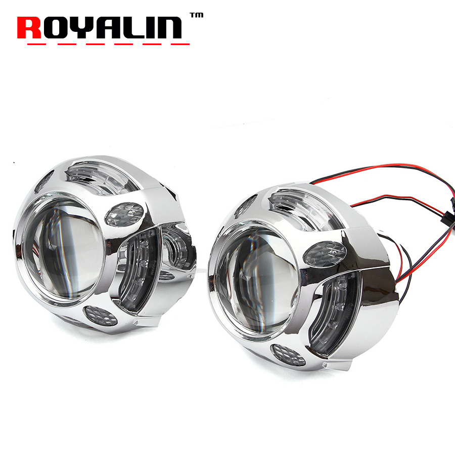 ROYALIN Car Metal Headlight Projector H1 Bi Xenon Lens DRL With White LED Round Cover For H4 H7 Motorbike Headlamp Lights DIY royalin car styling hid h1 bi xenon headlight projector lens 3 0 inch full metal w 360 devil eyes red blue for h4 h7 auto light