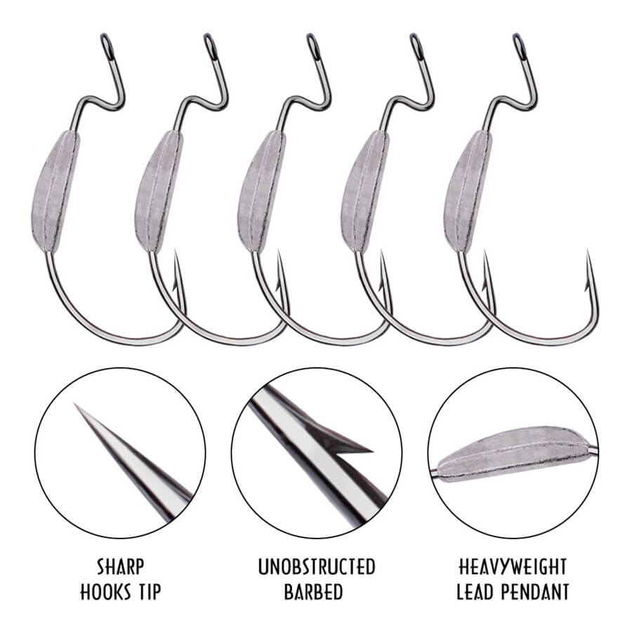 5pc 1/0-4/0# 1.5-4g Offset Hook Lead Weighted Wide Gap Weedless Soft Fishing Lure Bait Worm Barbed Fishhook Saltwater Freshwater