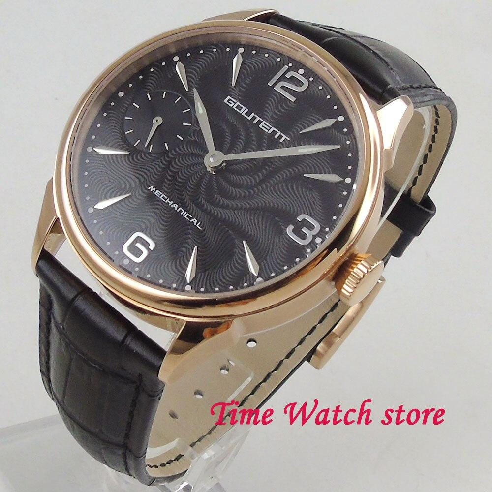 цена Goutent men's watch 42mm golden case black dial silver marks Vintage 17 jewels Mechanical 6497 Hand Winding movement 2008 онлайн в 2017 году
