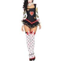 VASHEJIANG Sexy Poker Red Hearts of Queen Costume Adults Women Kigurumi Funny Clown Costume For Halloween Carnival Pary Dress