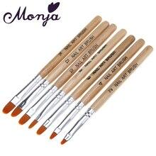 Monja, 7 шт., набор деревянных акриловых кистей для дизайна ногтей, УФ-гель, поливинилхлорид, набор кистей для рисования лаком, ручка, инструмент для маникюра
