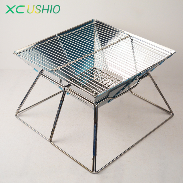 Quality Stainless Steel Portable BBQ Charcoal Grills Barbecue Churrasco  Outdoor Folding Picnic Roasting Oven Stove Fast