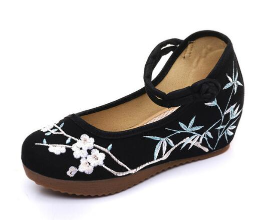 Childhood Sweetheart Han Clothes Embroidered Increase In Height Tea Art Canvas Shoes Dance Women Sandals Shoes(China)