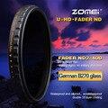 Zomei 52/58/67/72/77/82 мм Ультра Тонкий С Многослойным Покрытием 18 слоя HD MC HD ND2-400 Фейдер Переменная ND Фильтр