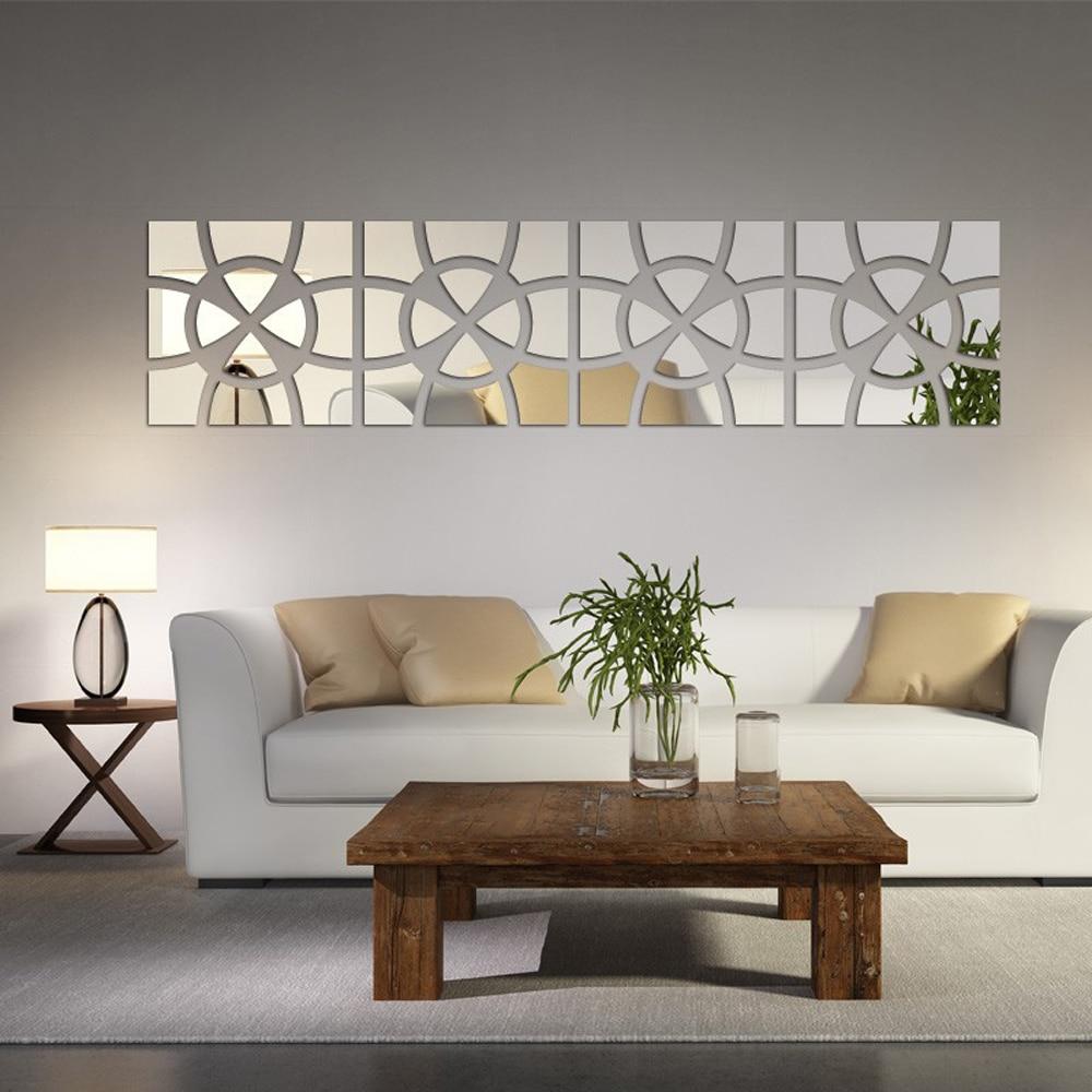 Modern Creative Design 3D Acrylic Mirror Wall Sticker Living Room ...