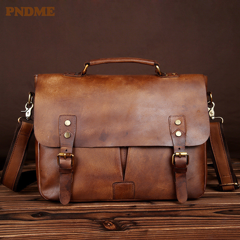 PNDME High Quality Vintage Top Layer Cowhide Men's Briefcase Simple Handmade Genuine Leather Business Work Luxury Laptop Bag