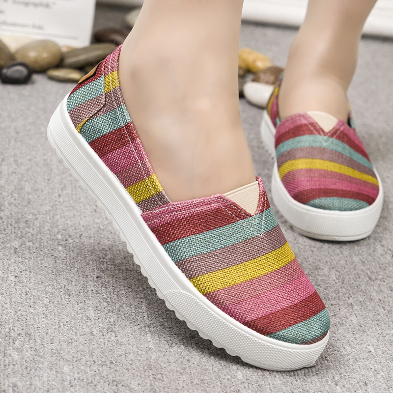 Classics Casual Flats Sneaker Canvas Shoes Thick Bottom Breathable Lazy Slip-on Ladies Loafers Flat Women