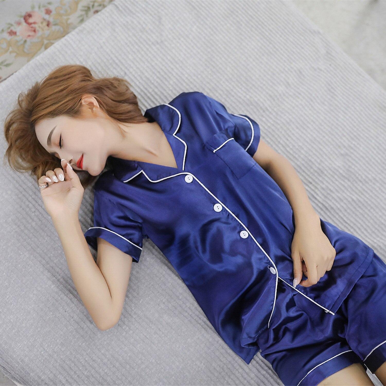 Short Sleeve Silk   Pajamas   Suit Women Summer   Pajama     Sets   Silk Satin Pijama Sleepwear Pyjamas Maximum Body 3XL 4XL 5XL Nightwear