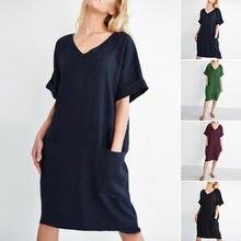 Plus Size Vintage Women Cotton Linen V Neck Plaids Loose Casual Tunic Mini Dress
