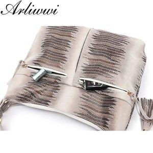 Image 3 - Arliwwi マルチジッパーポケット本物のスエード牛革ビッグのショルダーバッグ大ゆったり光沢のあるエンボス加工ハンドバッグ GB11