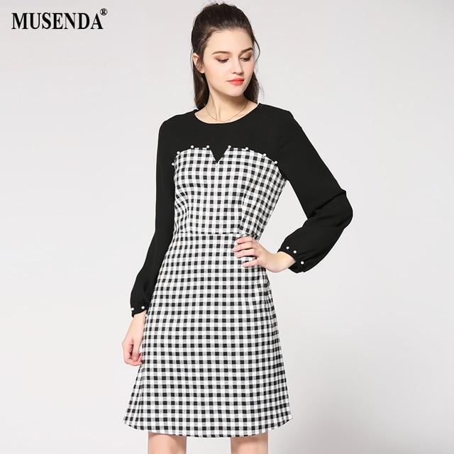 Musenda Plus Size Women Black White Plaid Patchwork Beading Tunic
