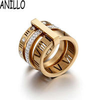 ANILLO Women Ring High Quality Luxurious Personality Polycyclic Combination Ring Rome Letter Stainless Steel Accessories Jewelry