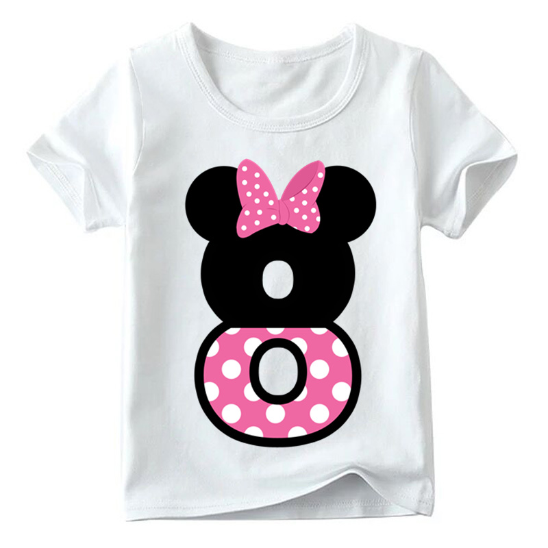 Baby Boys/Girls Happy Birthday Letter Bow Cute Print Clothes Children Funny T shirt,Kids Number 1-9 Birthday Present,HKP2416 14