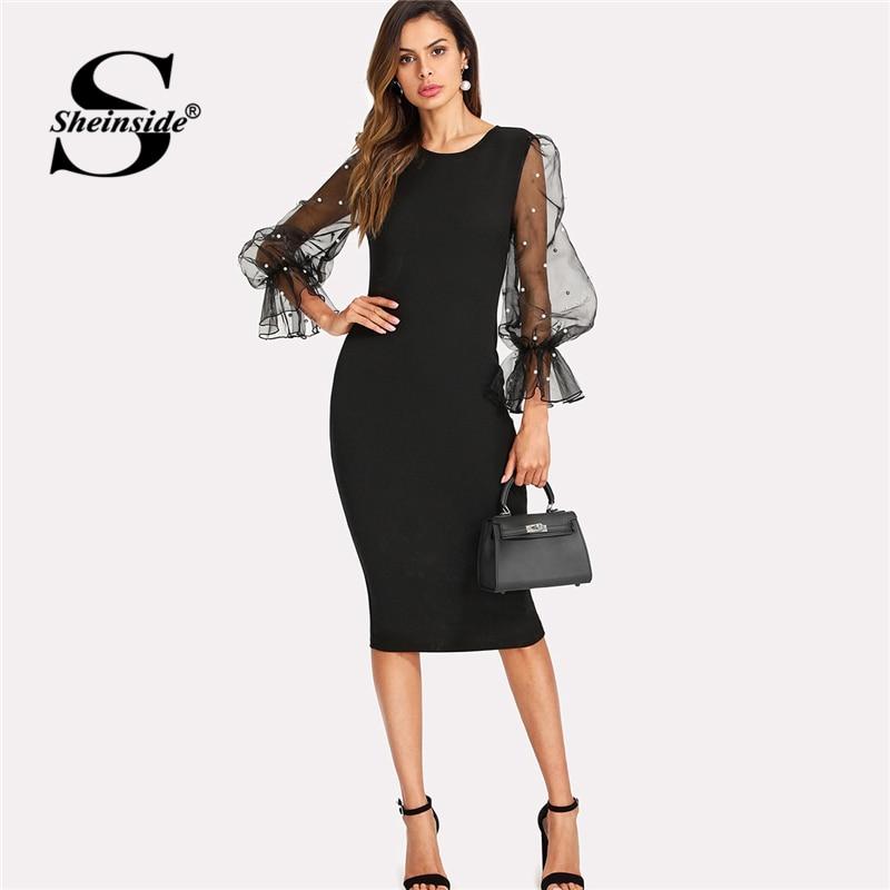 Sheinside Perle Perlen Mesh Hülse Kleid Frauen Knielangen Regelmäßige Fit Bodycon Kleid 2018 Sommer Elegante Party Kleid