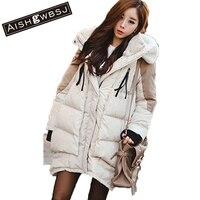 AISHGWBSJ Europa America donne cappotto lungo inverno allentato causale spessa con cappuccio antivento cotton-padded più il grande formato parka giacca W35