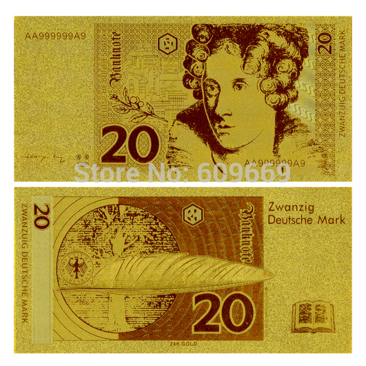 Reproduction Crafts Germany 20 Gold Bank Note Mark Large in Stock For Collection