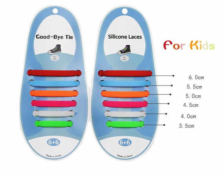 12 adet/grup Çocuk Ayakabı Hiçbir kravat Ayakkabı Bağcıkları Elastik Silikon Tembel spor ayakkabılar Dantel Elastik Silikon Katı Fit Tüm Sneakers