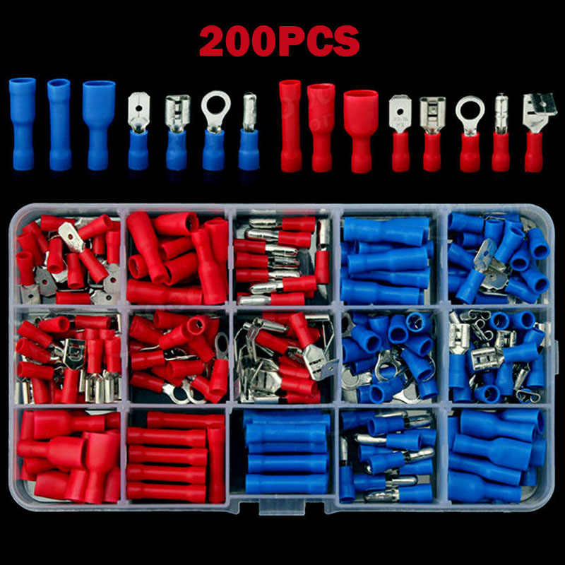 Electrical Assorted Insulated Wire Cable Terminal Crimp Connector Spade Set Kit TSH Shop