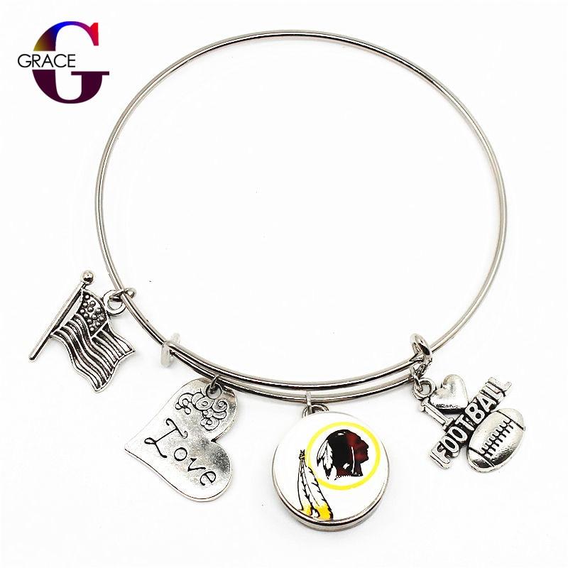 Washington Redskins Team Sports Adjustable I Love Football Expandable Men Bracelets Bangle With 18mm Ginger Glass Snaps Buttons