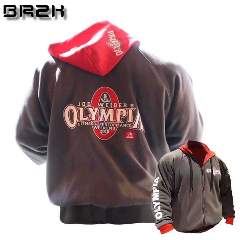 2018 Olympia Mens Zipper Hoodies Fashion Casual Male Gyms Fitness Bodybuilding Cotton Sweatshirt Sportswear Brand Top Coat Terrific Value