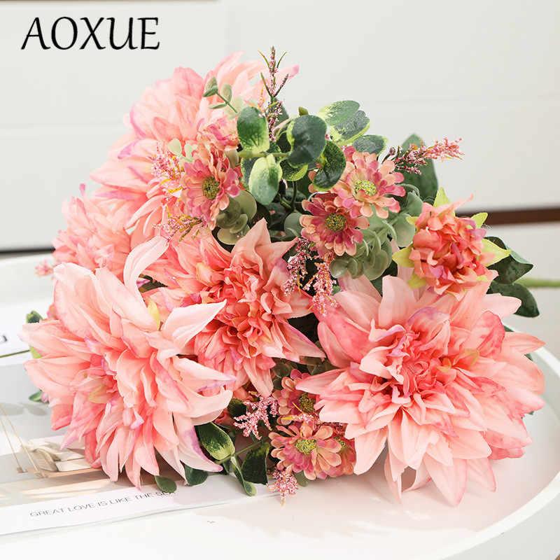 AOXUE искусственный цветок Восточный Георгин фотография Свадебное украшение дома