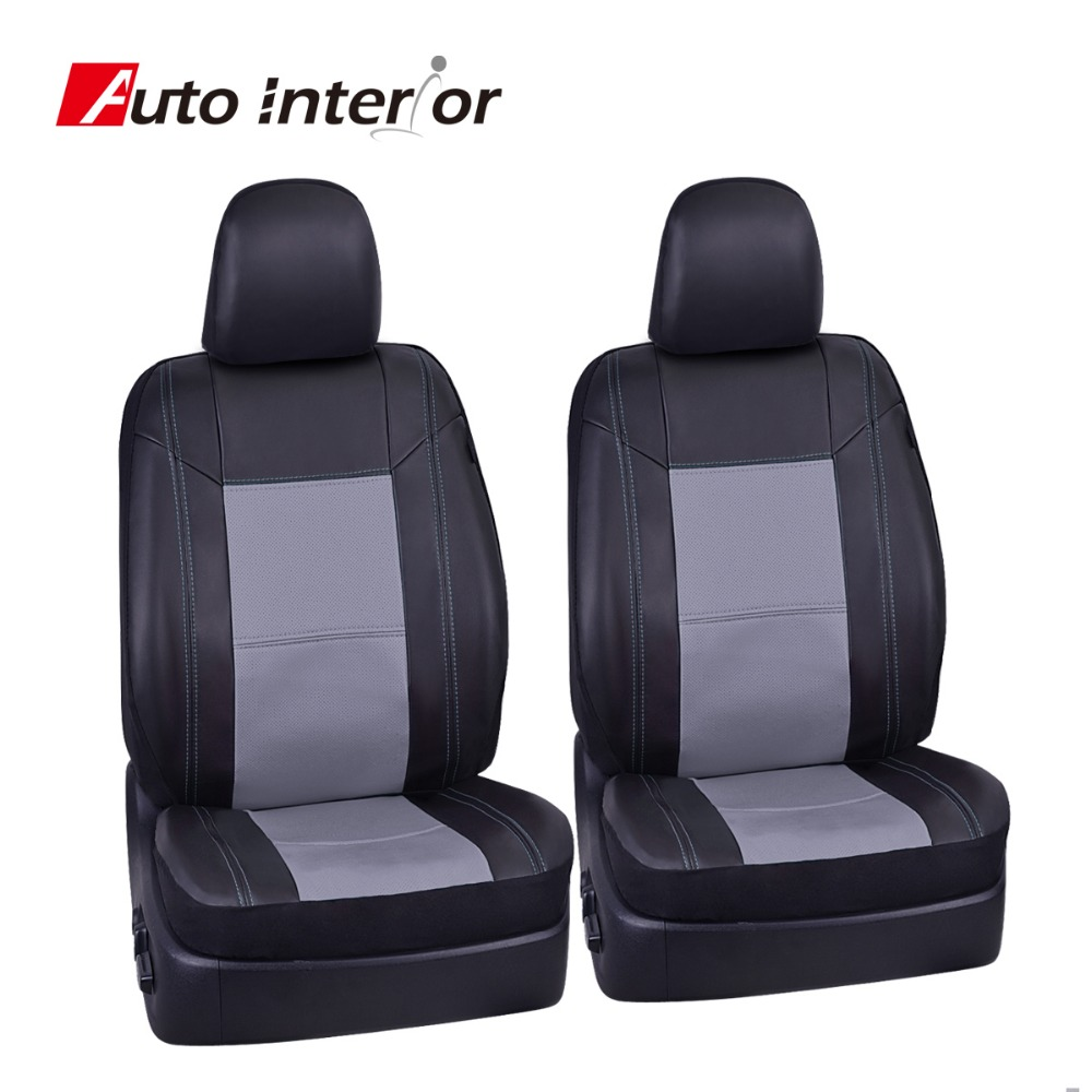 New Punching Full Leather 2 Front Seat Cover Red Blue Beige Patchwork Black Seat Cover Fit