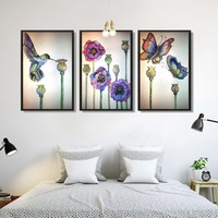 New Arrivals Ink Painting Flowers And Bird Pattern Full Diamond Painting Chinese Style Living Room Decorative