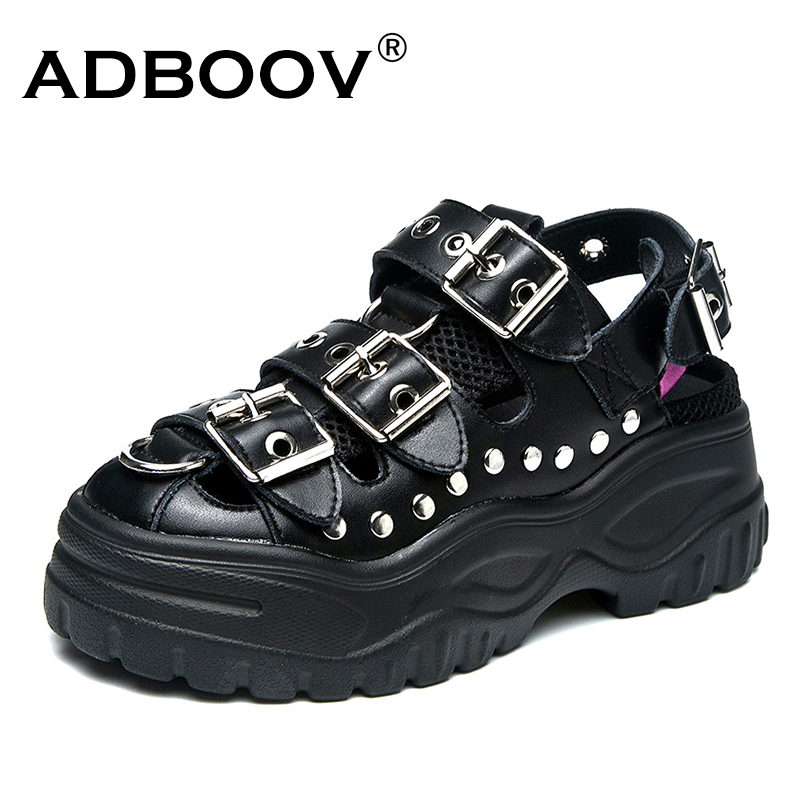 ADBOOV Leather Gladiator Sandals Women Rivet Punk Retro Platform Sandals Thick Sole 5 cm Buckle Chunky Shoes Black White KhakiADBOOV Leather Gladiator Sandals Women Rivet Punk Retro Platform Sandals Thick Sole 5 cm Buckle Chunky Shoes Black White Khaki